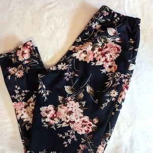 High Waisted Straight Leg Slacks, floral